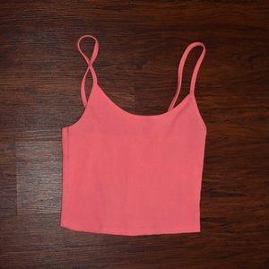 women's neon pink cropped ribbon cami